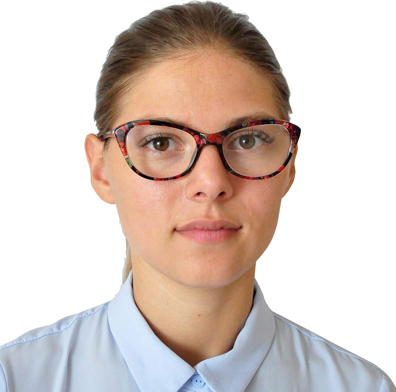 Custodia INCLUSA Gaming Occhiali con Luce Blu Bloccanti Stile da Gatto Cat Eye Finti Occhiali Senza Gradazione per Donna col. Fiore Blu