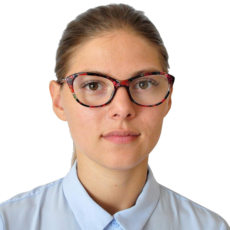 Custodia INCLUSA Cat-Eye Occhiali da Lettura per Donna| Diottrie +2.5 Montatura in Platica MINI BRILLE Occhiali da Lettura con Grandi Lenti Fiore Blu Stile da Gatto