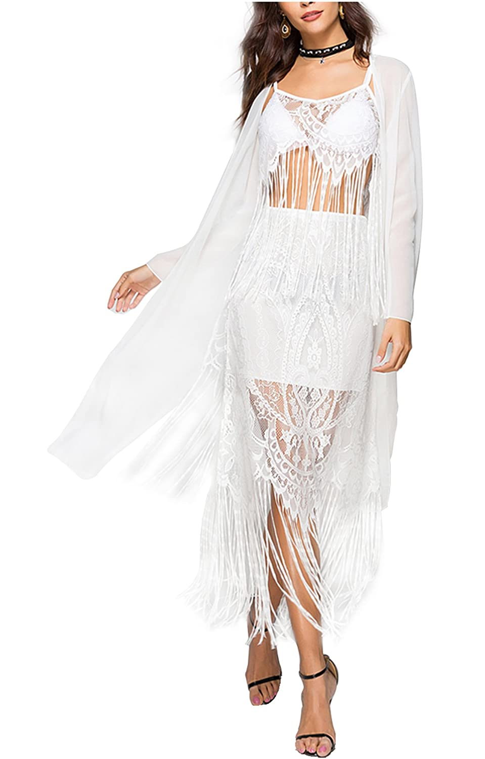CHIC DIARY Women Bathing Suit Beach Cover Up Chiffon Splice Lace Long Cardigan with Tassel QQUS07210