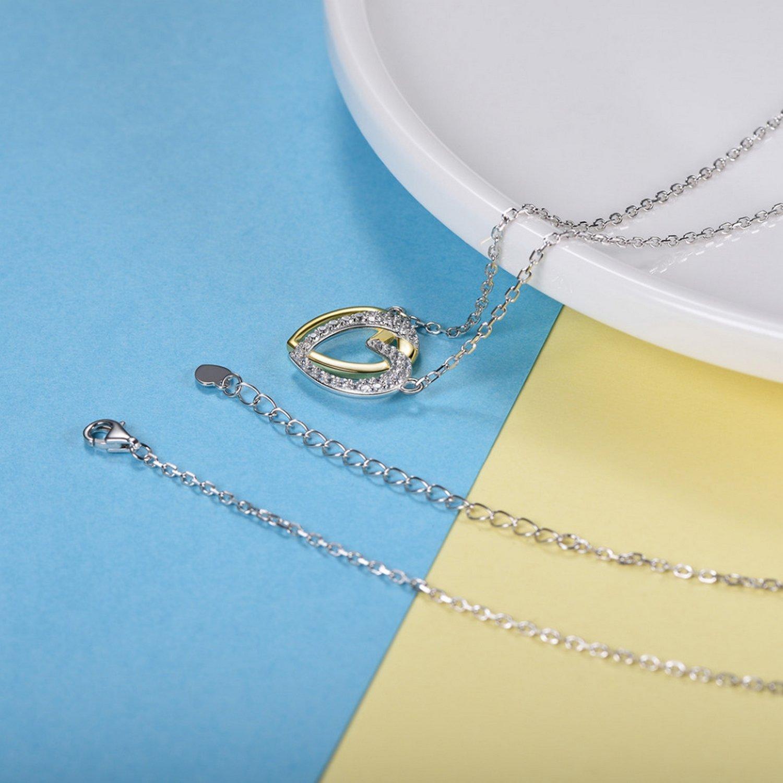 CS-DB Jewelry Silver Double Heart Love Cubic Zirconia Wedding Chain Charm Pendants Necklaces