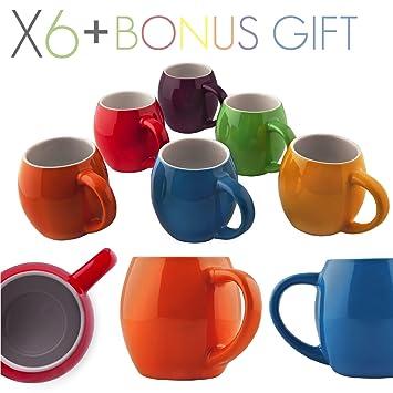 primrose colorful mugs by madero kitchen set of 6 ceramic coffee mugs small mouth 14oz - Colorful Mugs