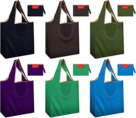 Reusable Grocery Shopping Tote Bags Foldable into Attached Pouch Durable Light Weight Flat Bottom