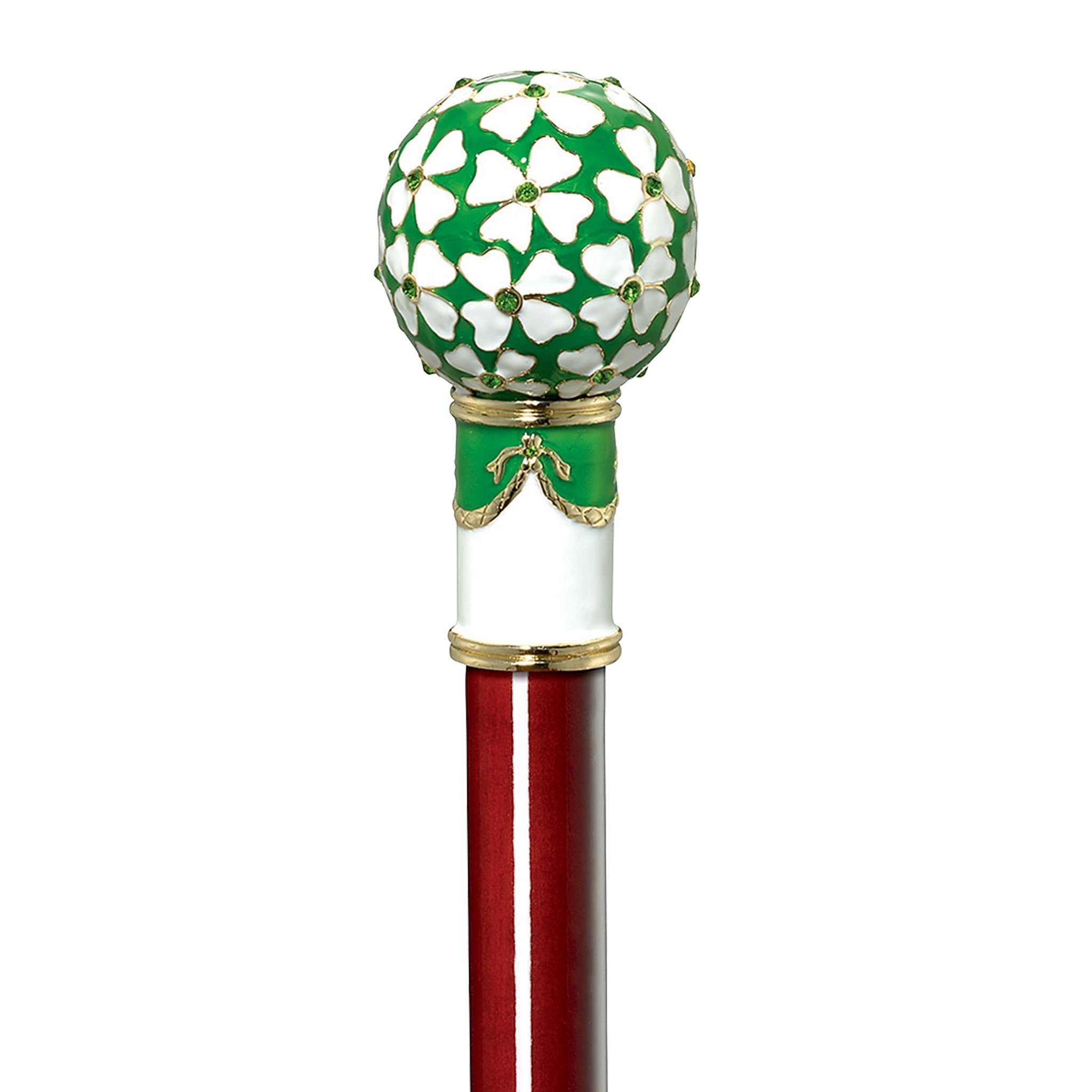 Design Toscano Imperial Collection Romanov Style Premium Enameled Four Leaf Clover Walking Stick, Full Color