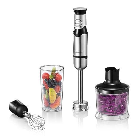 Aigostar Stirring Set Silver 30IOO - Set de batidora de mano, picadora y varilla mezcladora, 600 W, control graduable y dos velocidades. Libre de BPA, ...