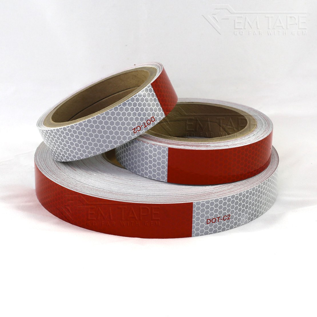 Gem Tape 1 in. Wide Red and White Honeycomb High-Intensity Reflective Conspicuity Tape for Low Light Safety (1 in. X 30 Ft, Red 6 in./White 6 in. Repeating)