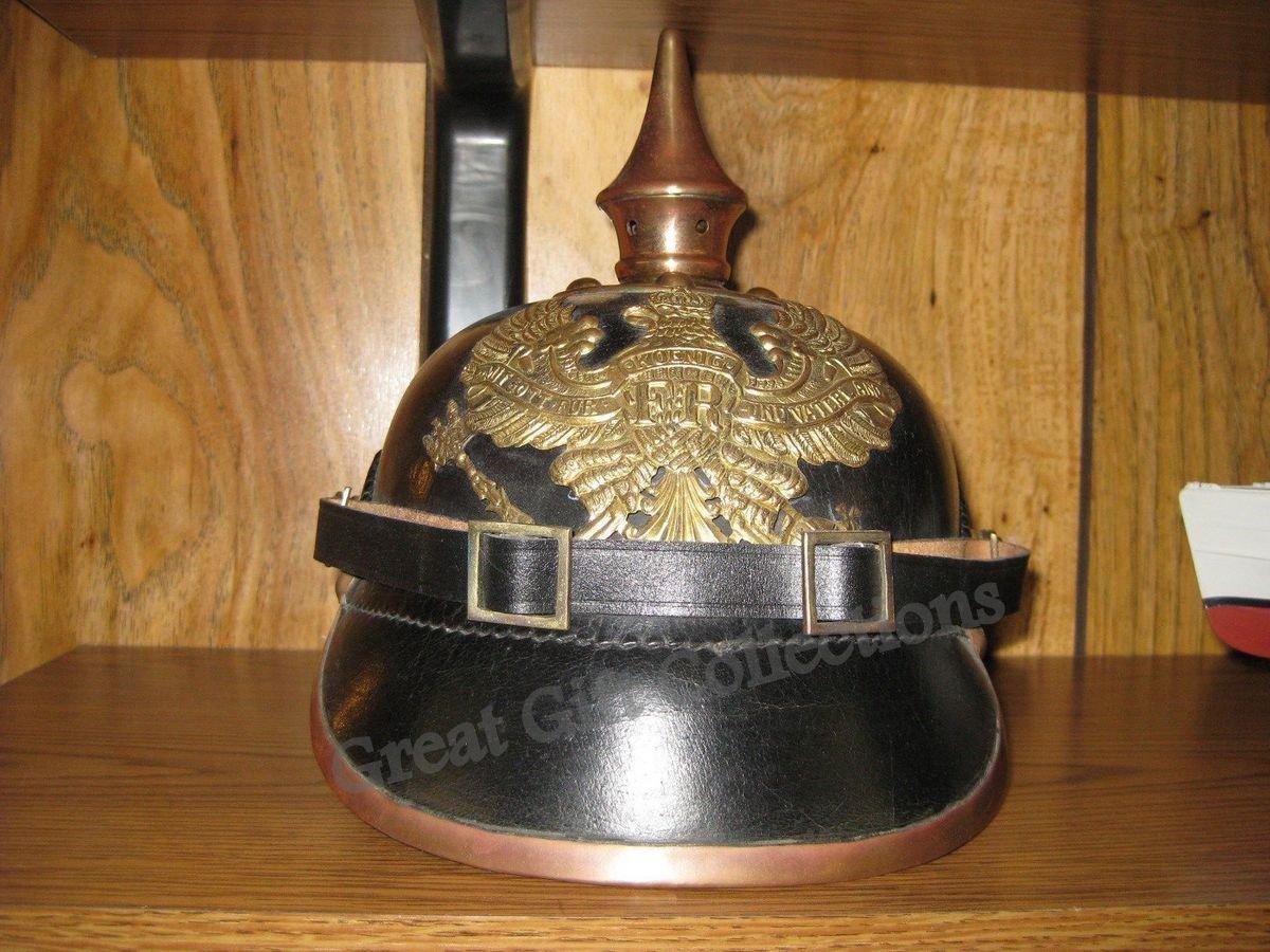 Imperial GermanSpiked Pickelhaube-Officer Helmet- Black Leather & Brass D1