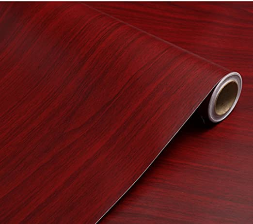 bestery adhesive dark red wood grain paper furniture stickers wallpaper cabinets wardrobe shelf liners 15 8inch by 98in