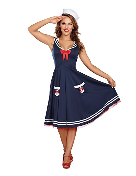 1940s Costumes- WW2, Nurse, Pinup, Rosie the Riveter Dreamgirl Womens All Aboard Costume $49.55 AT vintagedancer.com