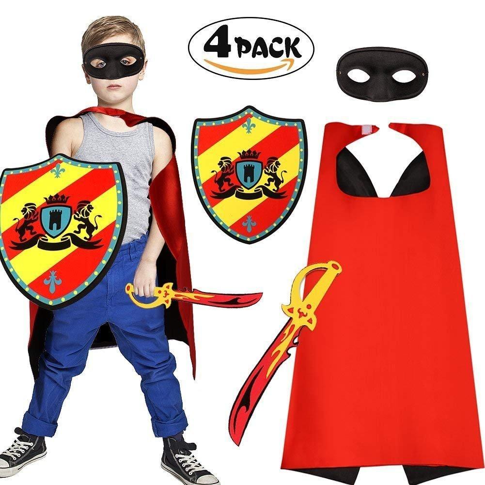 Superhero Mask Cape Foam Sword and Shield Toy Set Dress up Costume for Boys Kids