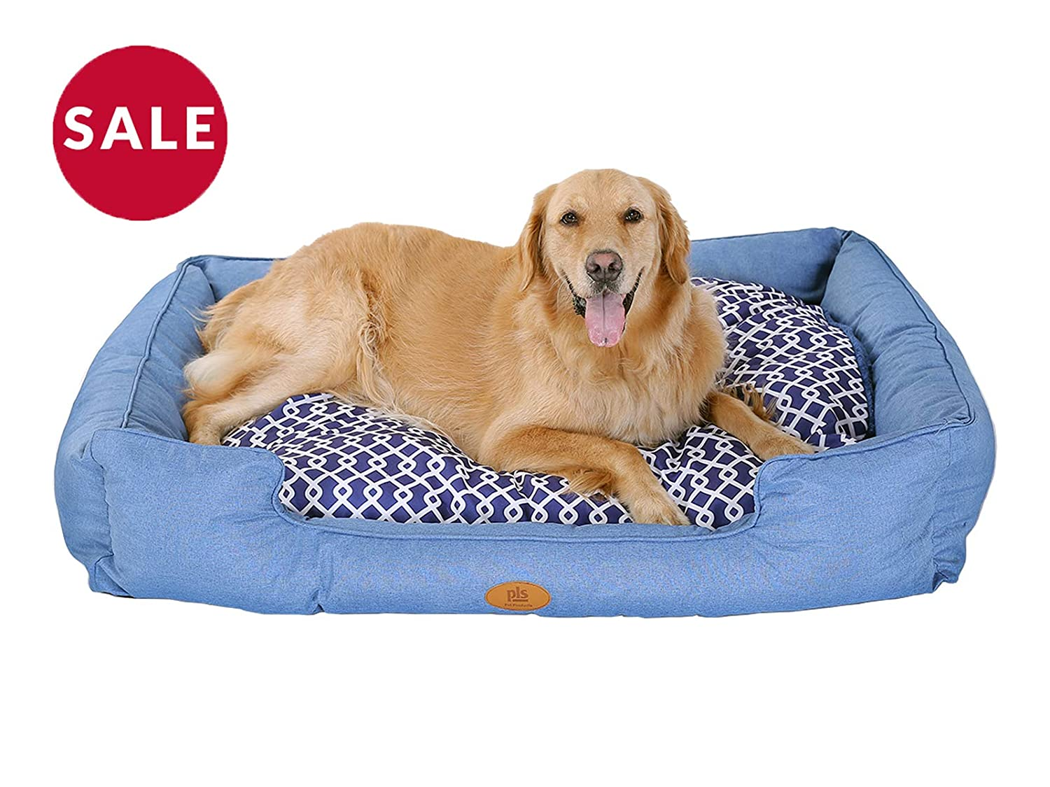Extra Large 35\ [New] PLS Birdsong Trellis Bolster Extra Large Dog Bed, Pet Bed, Cat Bed, bluee, Extra Large, Removable Cover, Completely Washable, Dog beds for Extra Large Dogs