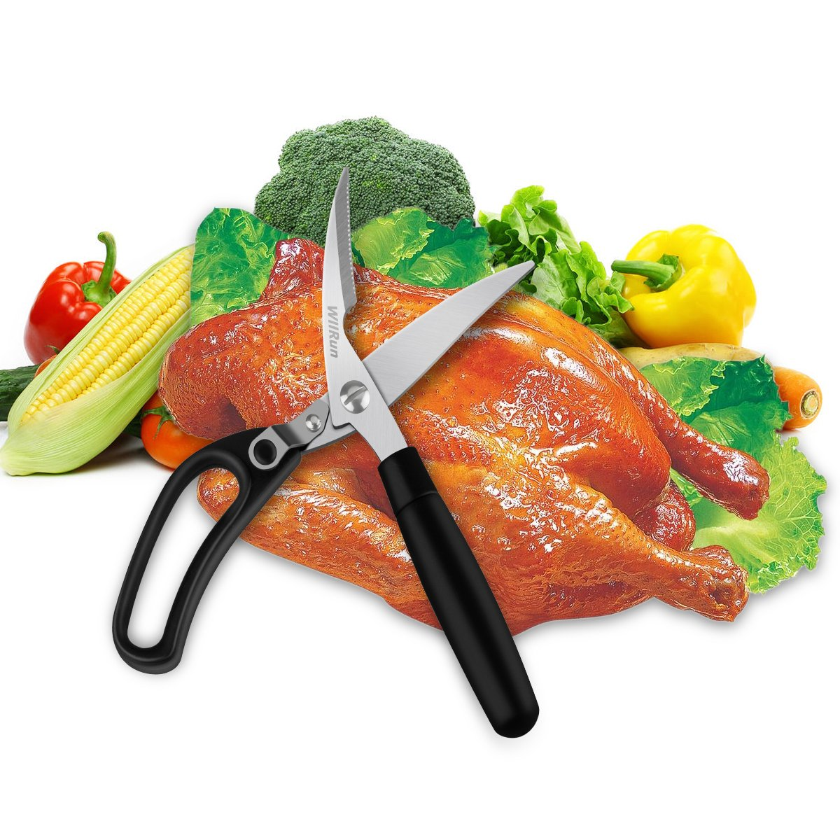 Kitchen Shears, Poultry Heavy Duty Multi Purpose Scissors for Herbs, Chicken, Meat & Vegetables, Spring Loaded Good Grips WllRun ®