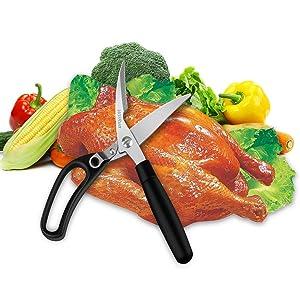 Kitchen Poultry Shears, Heavy Duty Stainless Steel Spring Loaded Good Grips Multi Purpose Scissors