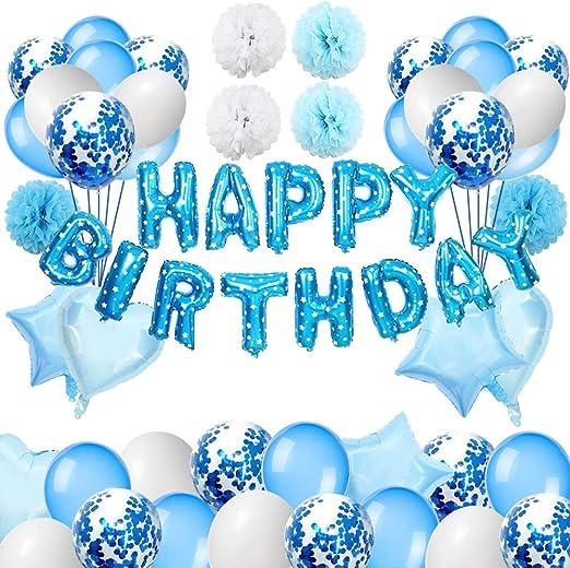 Puselo Decoración de cumpleaños, Globos Cumpleaños Happy Birthday, Decoración Globos de Confeti De Látex y Garland Banderas para Niños y Hombres: Amazon.es: Hogar
