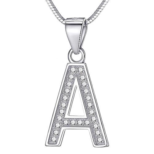 326fab891989 Morella Mujeres Collar y Colgante Diferentes Letras para Elegir de 925  Plata de Ley rodio Plateado 45 cm Longitud
