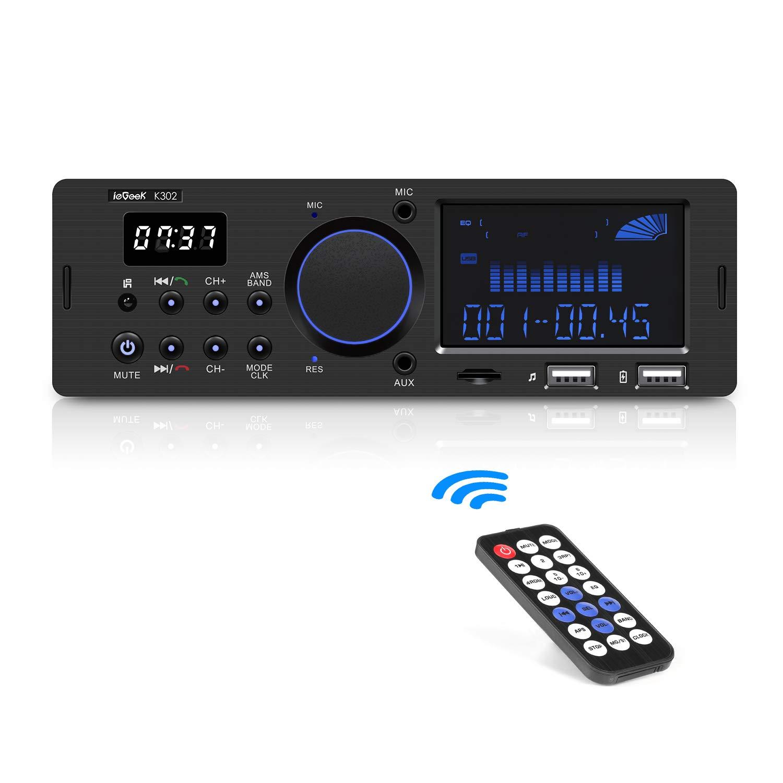 Autoradio Bluetooth Coche ieGeek, Manos Libres, Soporta RDS/USB/SD/AUX/FM/AM/MP3/WMA/WAV/FLAC, Pantalla LCD con Control Remoto Inalámbrico, Reloj LCD, ...