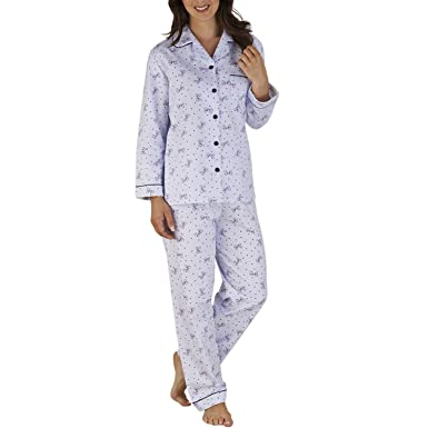 Slenderella Ladies Bow   Polka Dot Pajamas Winceyette Cotton PJs UK 10 12  (Blue 6dd70e4e2