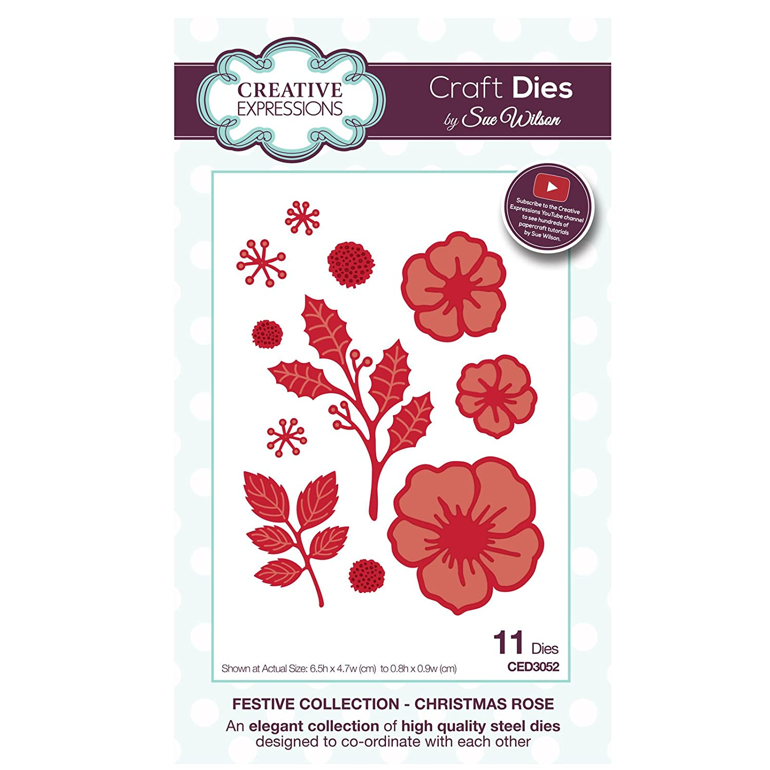 Sue Wilson CED3052 Festive Collection Christmas Rose Dies Ecstasy Crafts Inc