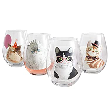 Party Cats Painted Stemless Wine Glass Box Set by Pier 1 Imports