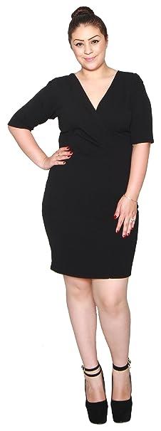 Libian Jr Plus Size Short Sleeve Cross Neck Stretchy Knit Dress