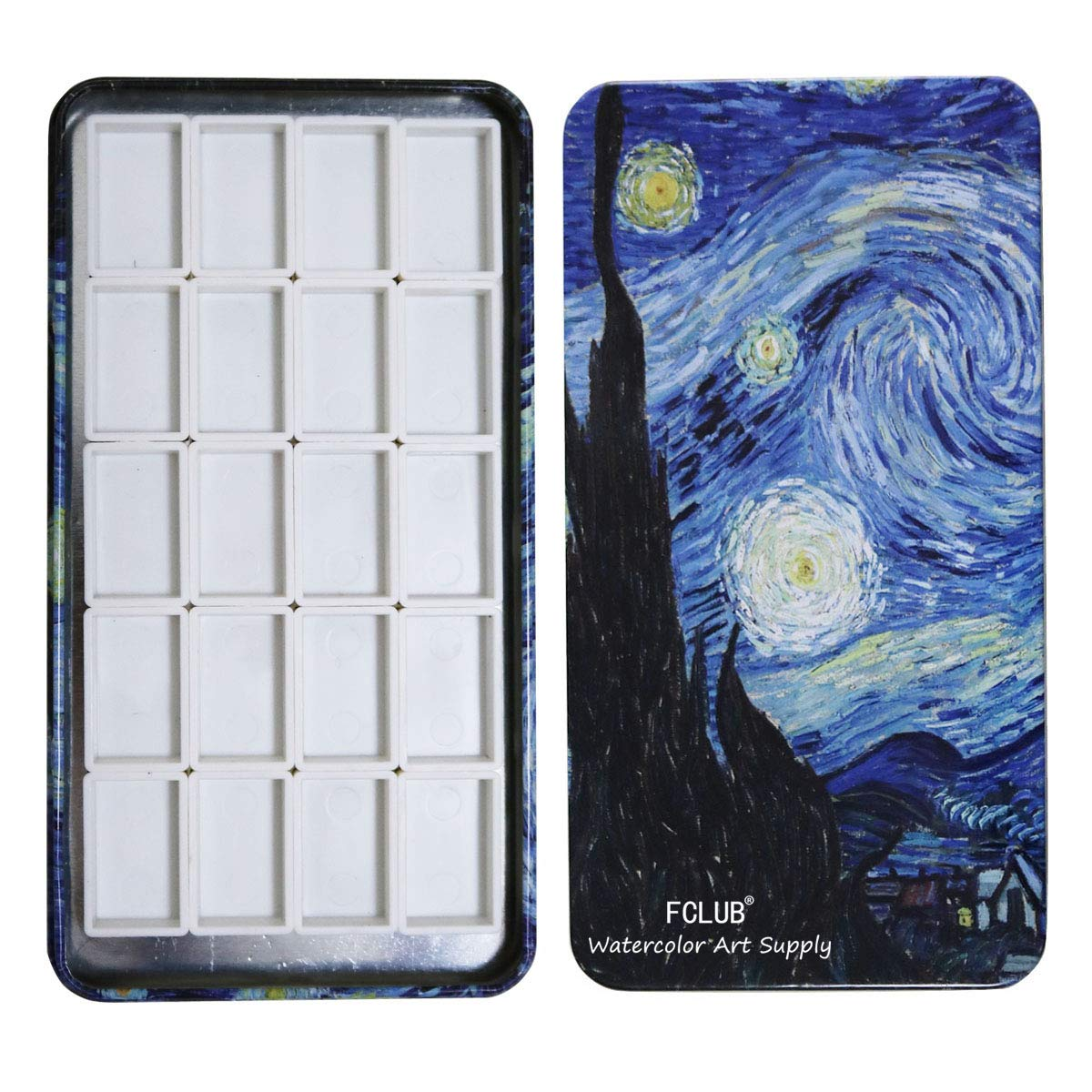 FCLUB Watercolor Tins Palette Paint Case with 20Pcs Full Pans Carrying Magnetic Stripe on The Bottom - Starry Night by Vincent Van Gosh by FCLUB