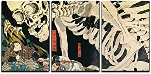 "wall26 - 3 Piece Canvas Wall Art - Utagawa Kuniyoshi - Takiyasha The Witch and The Skeleton Spectre - Ukiyo-E - Modern Home Decor Stretched and Framed Ready to Hang - 16""x24""x3 Panels"