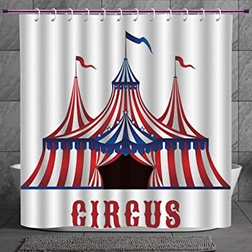 Circus Entrance with a Red Curtain Bathroom Waterproof Fabric Shower Curtain Set
