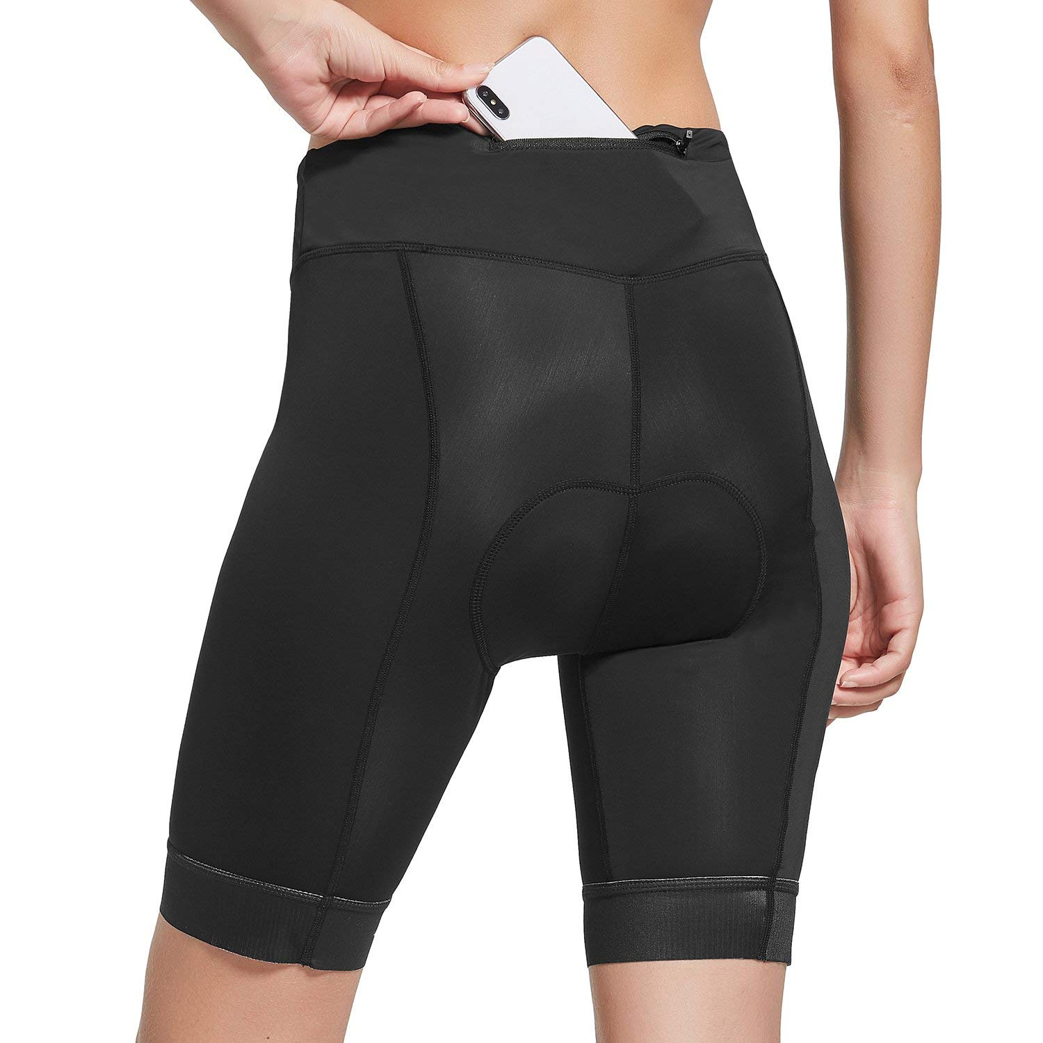 Baleaf Womens Cycling Shorts with 3D Padded Bike Shorts with Zipper Pocket UPF 50+ Black by Baleaf