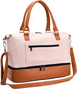 Women Travel Duffle Bag Canvas Carry On Tote Weekender Overnight Bag with PU Leather Shoulder Strap and Shoe Compartment Pink