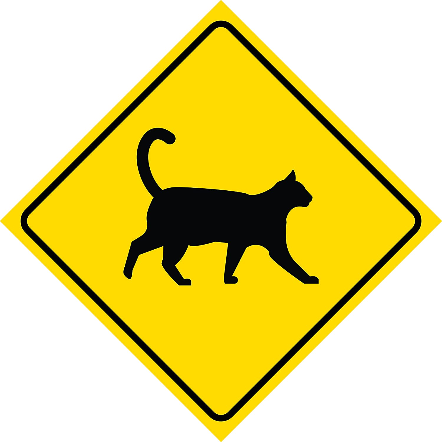 Aluminum Yellow Diamond Caution Cat Crossing Signs Commercial Metal 12x12 Square Sign iCandy Products Inc