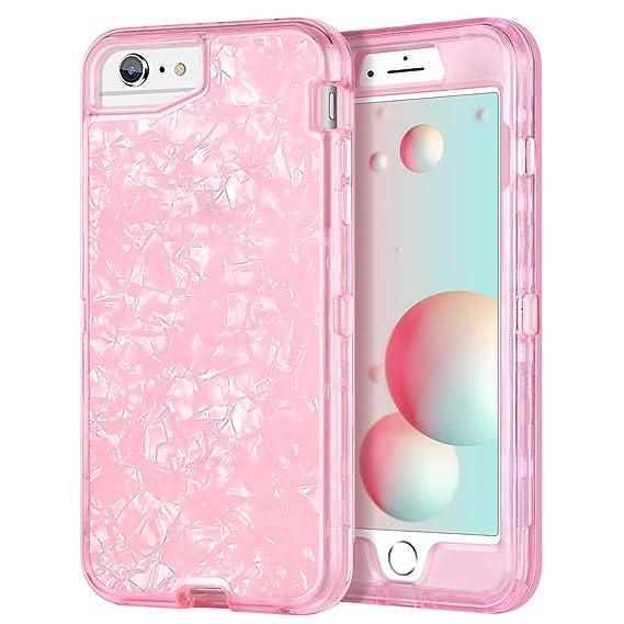 iPhone 7 Plus Case iPhone 8 Plus Case GUAGUA Shiny Seashell Women Girls  Three Layer Hybrid 80f2815925