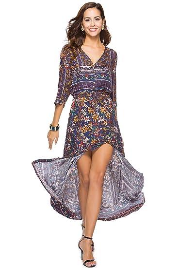 02b2f74e39c Womens Split Button up Bohemia Floral Print Maxi Dress at Amazon ...