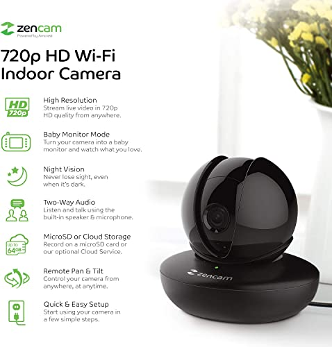 Amcrest Zencam WiFi Camera, Pet Dog Camera, Nanny Cam with Two-Way Audio, Baby Monitor with Cell Phone App, Pan Tilt Wi-Fi Wireless IP Camera, Micro SD Card, RTSP, Cloud, Night Vision, M1B