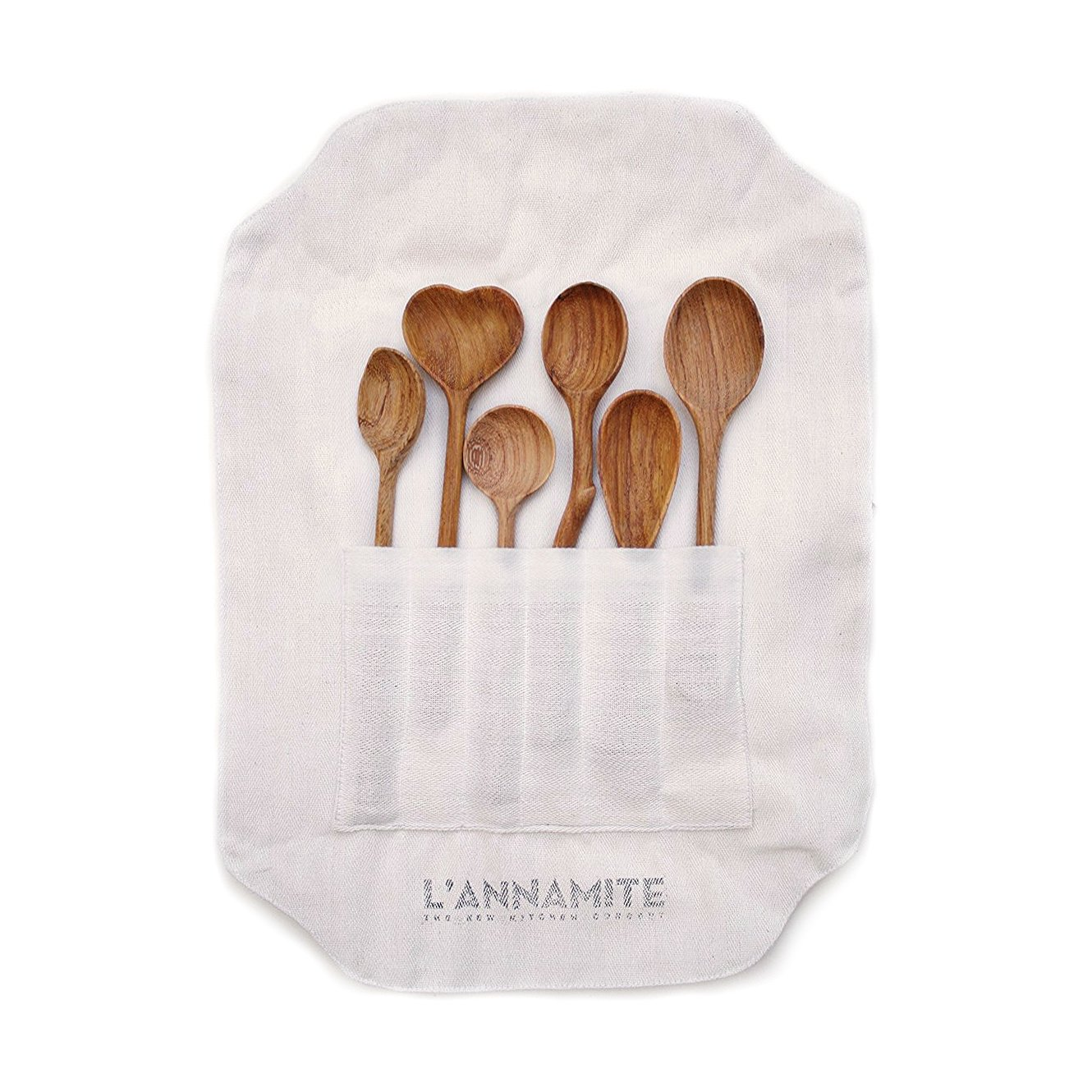 Wood Spoons Set 6 Pieces - Eco-Friendly Tableware Natural - Wooden Coffee Tea - Organic Bamboo - Great Gift For Chefs & Foodies - By L'ANNAMITE