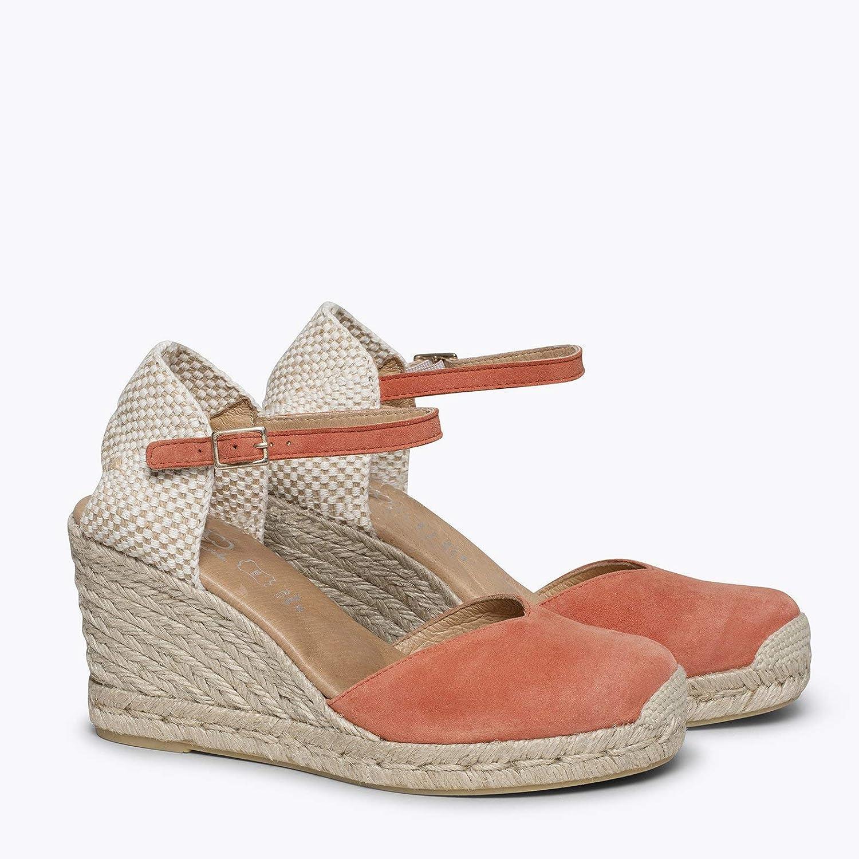 Alpargata de Esparto C/ómoda con Plantilla Ultra Confort Gel Zapatos de Piel Mujer Hechos EN ESPA/ÑA Cu/ña de Esparto Alta Zapatos miMaO