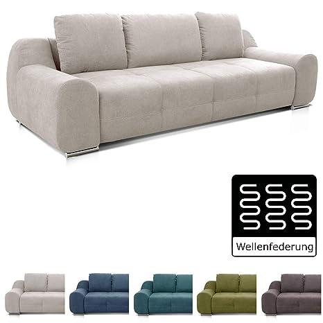 Cavadore Big Sofa Benderes Großes Sofa Mit Steppung Und Ziernaht Inkl 3 Kissen Chromfüße 266 X 70 X 102 Bxhxt Grau Weiß