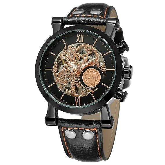 Forsining de los hombres elegante esqueleto automático mecánico correa de piel reloj con índice de barras wrg8122 m3b2: Amazon.es: Relojes