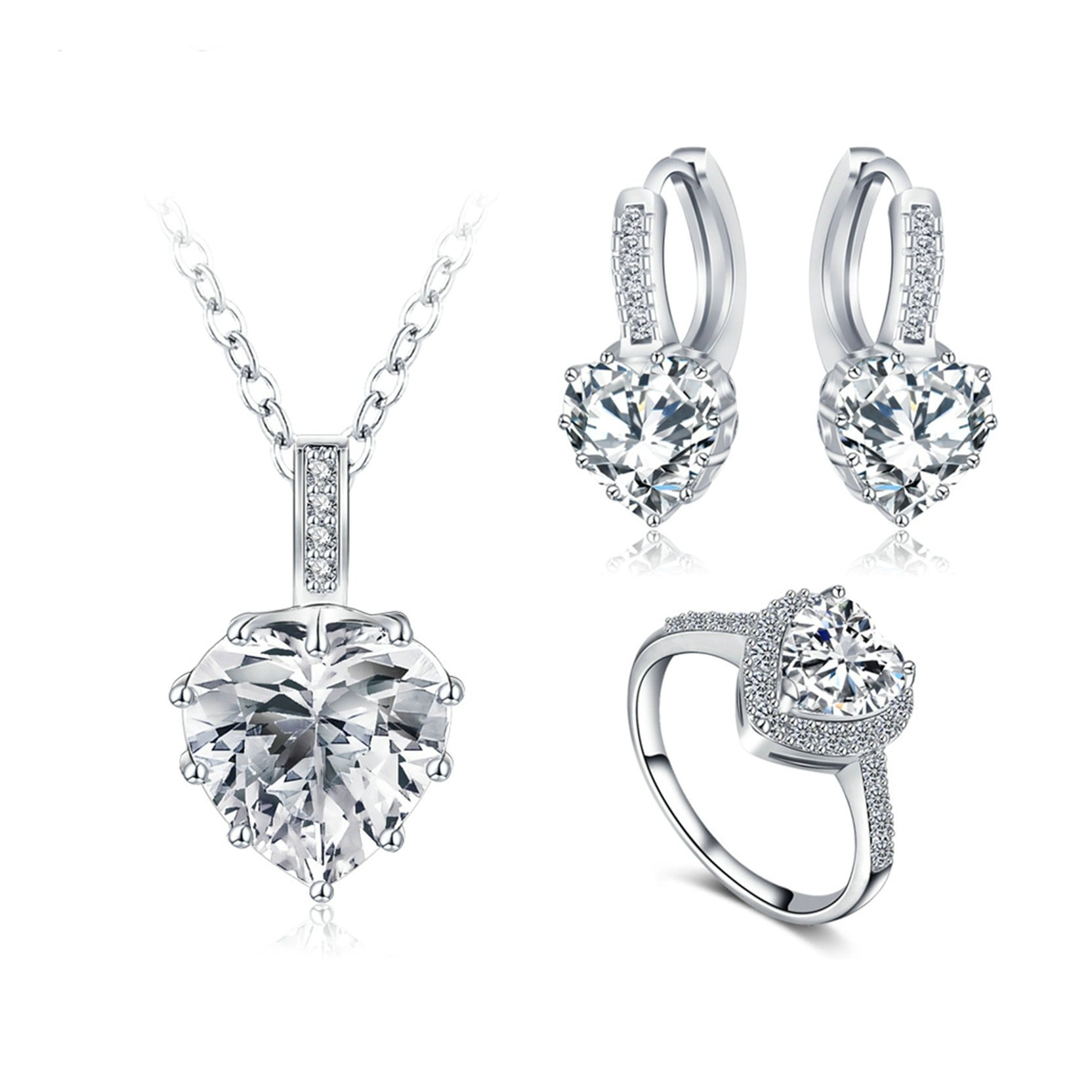 MoAndy Silver Plated Necklace Hoop Earrings Ring Jewelry Set for Women Heart Shape CZ White Size 8