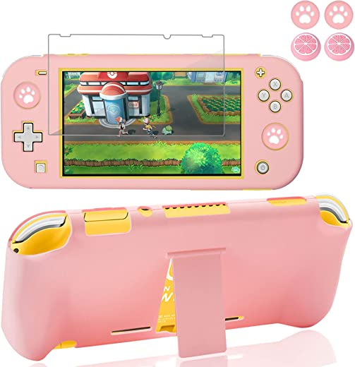 BRHE Switch Lite Case with Kickstand Anti-Scratch Shock-Absorption Protective Grip Cover with Glass Screen Protector for Nintendo Switch Lite Console (Pink)