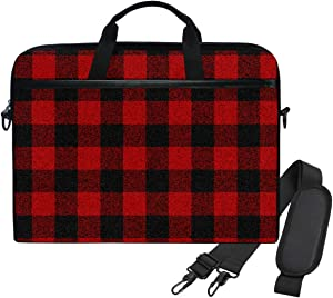 WIHVE 14 Inch Laptop Bag Black Buffalo Plaid Check Computer and Tablet Shoulder Bag Carrying Case