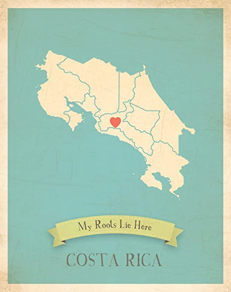 Amazon.com: Wall Map, My Roots Costa Rica Personalized Wall ...