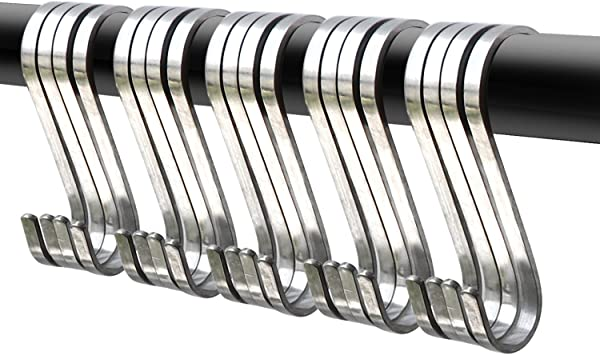 """20 Pack 3.6/"""" S-Shaped HooksStainless Steel Kitchen Pot Pan Clothes Hangers"""
