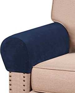 Real Velvet Armrest Covers for Chairs and Sofas Couch Arm Covers for Sofa Thickened Velvet Armrest Covers Anti-Slip Furniture Protector Washable Armchair Slipcovers for Recliner Set of 2, Navy