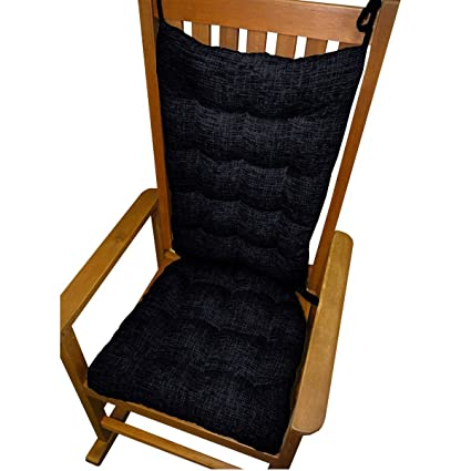 Rocking Chair Cushion Set  Great Deals Midnight Chenille  Jumbo Tufted Seat  Cushion U0026 Back
