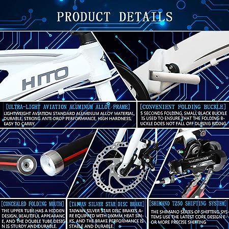 MIRACLEM 20/22 Pulgadas Bicicleta Plegable, Doble Tubo Ultraligero (12Kg) Aleación De Aluminio Bicicleta Portátil / Freno De Disco Aleación De Magnesio Una ...
