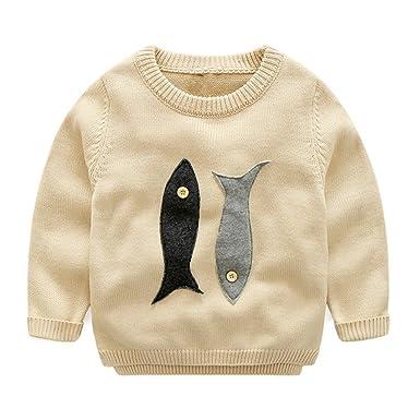 63cb9d399e35f7 ... Kids Boy Cartoon Fish Pullover Sweater Casual Knit Sweatshirt 2T Beige  new specials ec0f8 0d52c ... Africanmall store Men Winter Long Sleeve Solid  ...