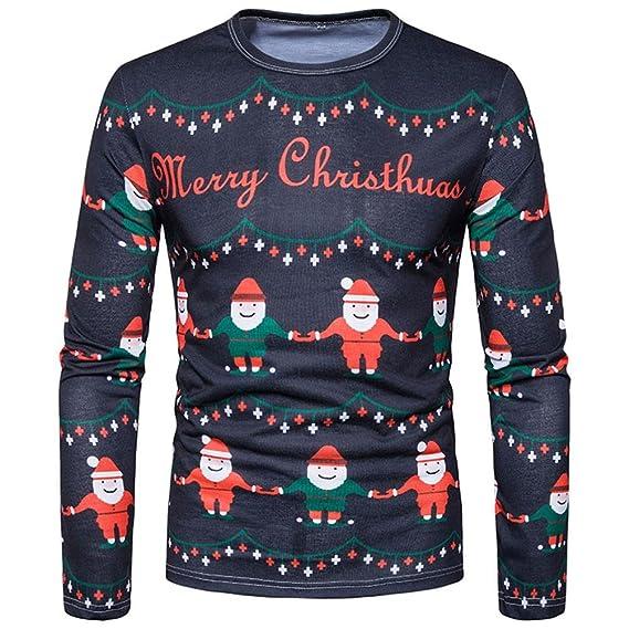 Sudaderas Hombre,ZARLLE Bohemia Retro Hombres OtoñO-Invierno Navidad Navidad Printing Top Hombres Camiseta