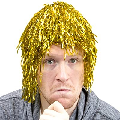 6-Pack Glam Tinsel Party Wigs Halloween Costume Accessory - Dress Up Theme Party Roleplay & Cosplay Headwear (Gold): Clothing