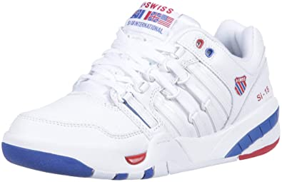 K-Swiss Womens SI-18 International Sneaker, White/Classic Blue/Ribbon