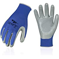 Vgo 10-Pairs Nitrile Coating Gardening and Work Gloves (Size S, Blue, NT2110)