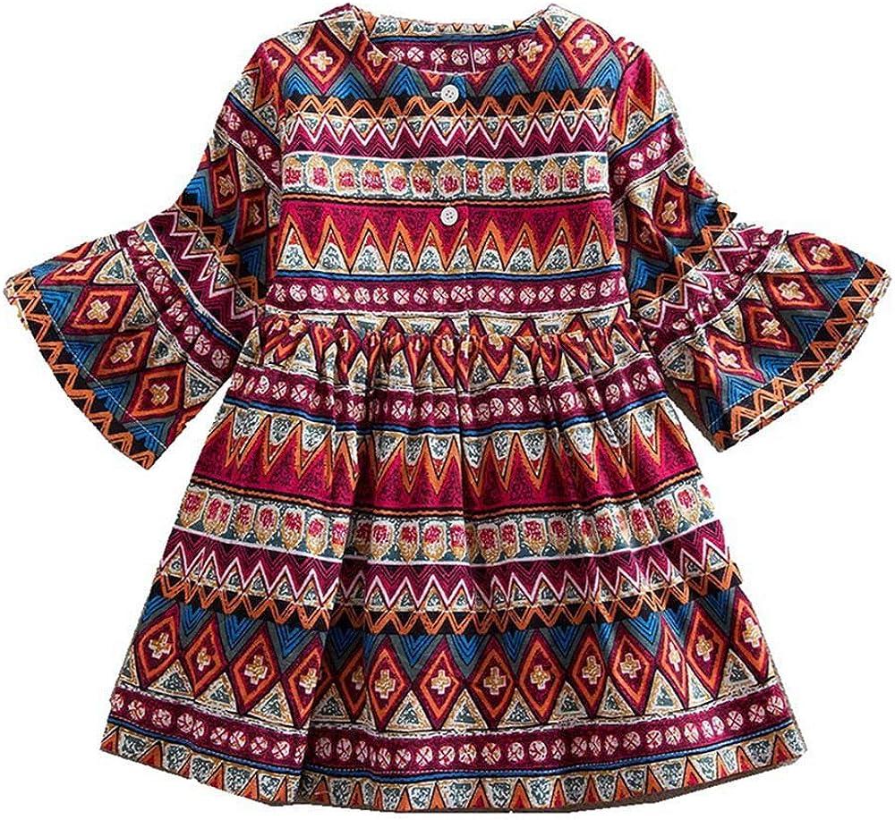 Amphia M/ädchenkleid,Baby M/ädchen Langarm Print B/öhmischen Stil Partykleid Outfits Kleidung